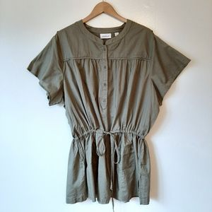 Avenue Army Green Cinched Waist Blouse  26/28 NWT
